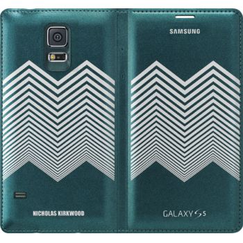 Samsung flipové pouzdro Nicholas Kirkwood EF-WG900RK pro S5, Green+ Silver