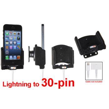 Brodit držák do auta na Apple iPhone 5/5S/SE bez pouzdra, s průchodkou z 30-pin na Lightning, samet