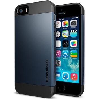 Spigen pevné pouzdro Slim Armor Metal Slate pro iPhone 5S, kovově modrá