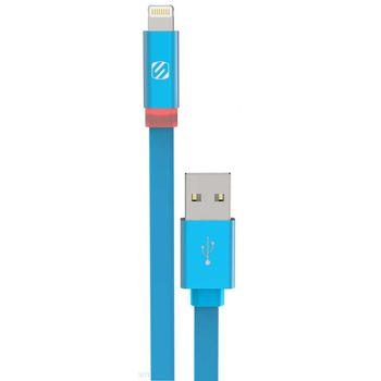 Scosche synchronizační a nabíjecí kabel LED s Lightning konektorem, 180cm, modrý