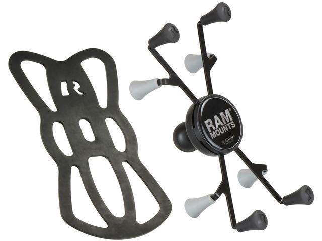 """obsah balení RAM Mounts univerzální držák na tablet 7"""" až 8"""" do auta na palubní desku, skútr, atd. na šroubky nebo vruty, AMPS, X-Grip, sestava RAM-B-138-UN8U"""