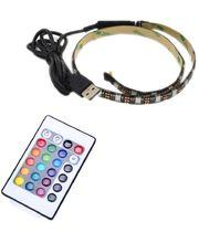 LED pásek 180cm, do USB, 54 diod, dálkový ovladač, 20 barev, samolepící