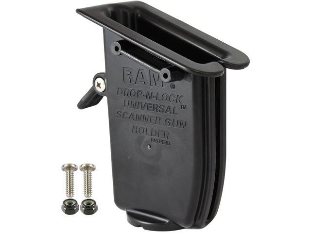 """obsah balení RAM Mounts univerzální držák s pojistkou na ruční čtečky čárových kódů na vysokozdvižné vozíky se zabezpečením a s úchytem pro hranatý profil 0-50 mm s 1,5"""" čepem, sestava RAM-247-2-317-KNOB5U"""
