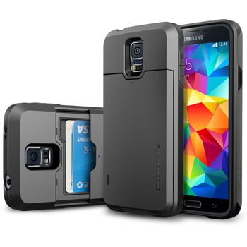 Spigen pevné pouzdro Slim Armor s příhrádkou na karty pro Samsung Galaxy S5 Gunmetal, šedé