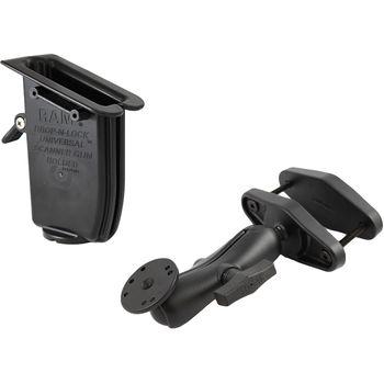 """RAM Mounts univerzální držák s pojistkou na ruční čtečky čárových kódů na vysokozdvižné vozíky s úchytem pro hranatý profil 0-101 mm s 1,5"""" čepem, sestava RAM-247-4-317-U"""