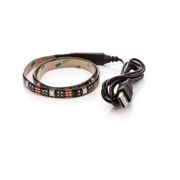 LED pásek 30cm, do USB, 9 diod, přepínač, 20 barev, samolepící