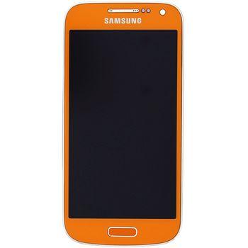 Náhradní díl LCD displej s dotyk vrstvou + přední kryt pro Samsung i9195 Galaxy S4 Mini, oranžová