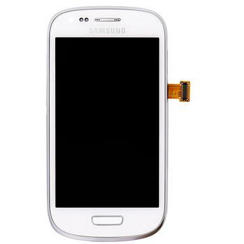 Náhradní díl LCD displej s dotyk vrstvou + přední kryt pro Samsung i8200 Galaxy S III Mini VE, bílá
