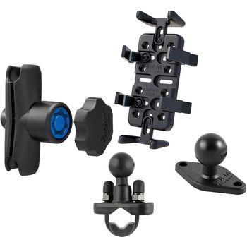 RAM Mounts univerzální držák na mobilní telefony, vysílačky, GPS navigace Finger-Grip s ramenem se zabezpečením s úchytem na řídítka nebo tyč o Ø12,7-31,75 mm, sestava RAM-B-149Z-UN4-KNOB3U