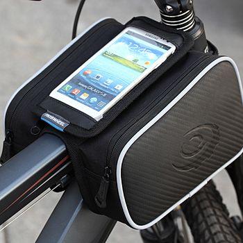 Roswheel brašna na mobilní telefon na rám, vel.L boční kapsy, vzhled karbon