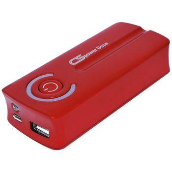 Powerbanka CS, 5600mAh, USB, sada konektorů a svítilna, červená