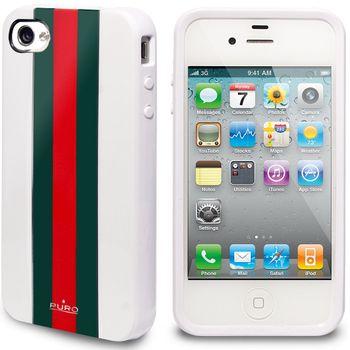 """PURO pouzdro TPU Cover iPhone 4/4S """"RED LINE"""" - zelená/červená/bílá"""